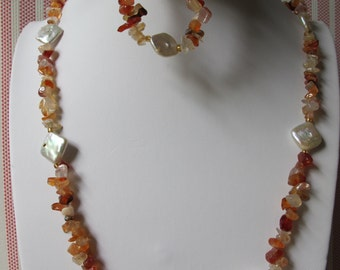 Red Agate Chips with Square Pearl Bracelet and Necklace Set B&N7