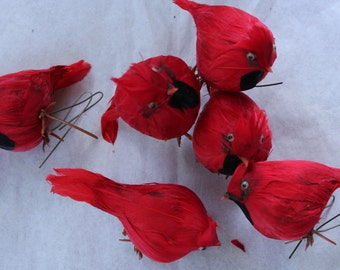 FEATHERED BIRD - RED - Decorative Crafts