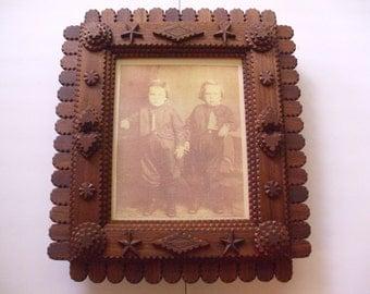 handcarved tramp art frame wood mirror frame wood picture frame folk art frame chip carved frame rustic frame 8 x 10 frame