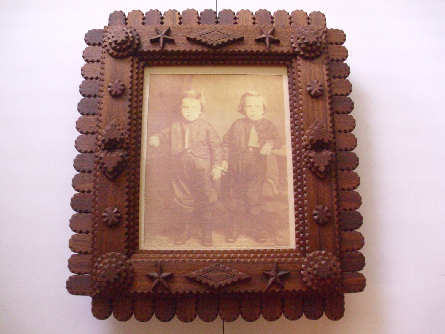 Handcarved tramp art frame wood mirror frame wood picture frame 2100 shipping jeuxipadfo Image collections