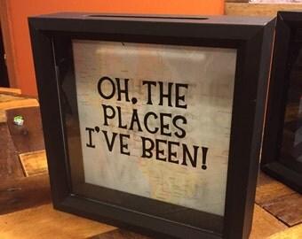 Ticket Stub box, 8x8, Shadow Box, Oh the Places you'll go, Graduation Gift, Dr Suess, Graduation Decor