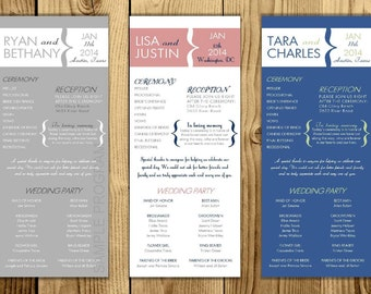 Digital - Modern Wedding Ceremony Program - Customizable - Printable File