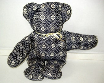 Early American Teddy Bear covered with Overshot Woven Fabric in Navy