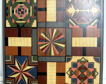 Folk Art Hand-Painted Parcheesi Board and Game Pieces