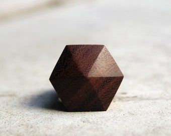 Geometric wood ring /// Hexahedron /// Statement ring /// Contemporary jewelry /// Gift for her /// Anniversary ring