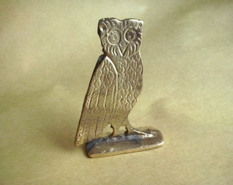 Vintage brass miniature owl, solid brass flat owl, good luck owl, brass owl, flat figurine owl (45/90) (syr/1)