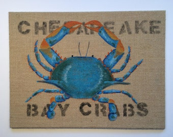 Chesapeake Bay Crabs; Blue Crab Hand Painted on a Burlap Panel; Maryland Blue Crabs
