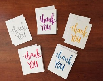 Assorted hand-lettered calligraphy 'Thank You' cards - Set of 5