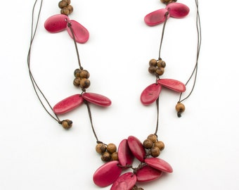 Butterfly Fuchsia Tagua/ Natural Acai Necklaces