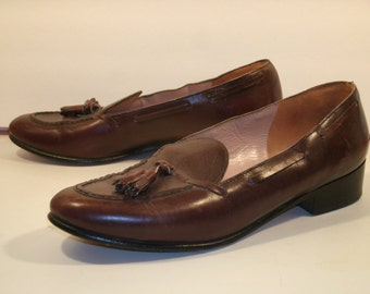 Men's Belgian Shoes Tassel Loafers Slip On Brown Leather Quality Comfort Business Casual Men's US Size 7.5 Made In Belgium