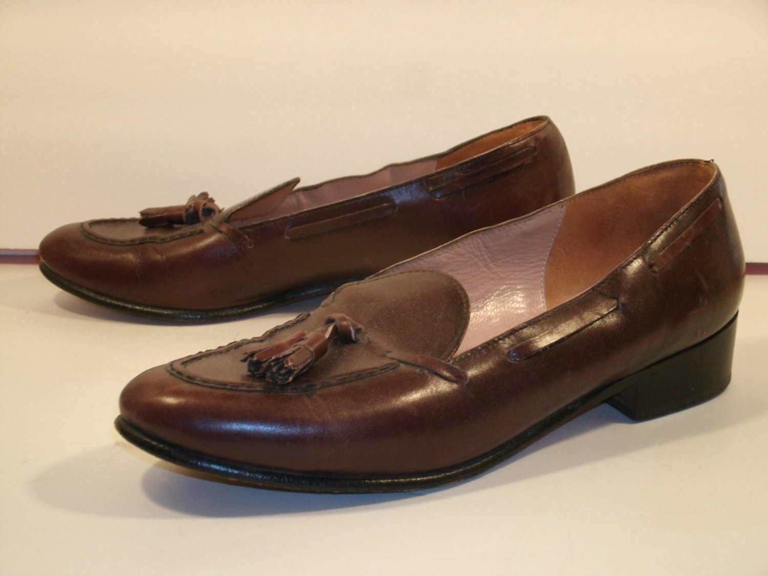 s belgian shoes tassel loafers slip on brown leather
