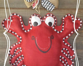 Summer burlap door hanger, Crab