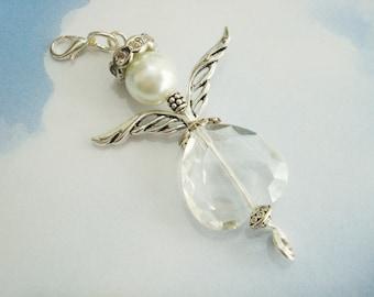 Guardian angel - lead crystal angel - angel necklace - car angel - rosary angel - beaded angel