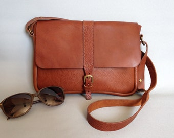 Across body tan leather satchel, women's satchel,small brown satchel.