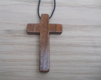 Mahogany Wood Cross Necklace (a)