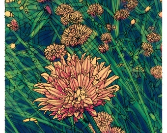 Chive flowers artwork - Item #1505