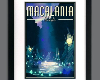 Final Fantasy 10 Inspired - Macalania Woods Retro Tourism Print Poster