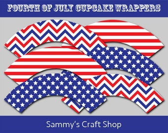 50% OFF Sale Fourth of July Printable Cupcake Wrappers Instant Download, DIY Cupcake Wrappers 4th of July Party, Independence Day Party
