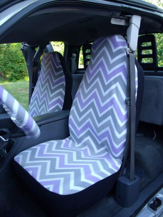 1 Set of Grey/Purple Chevron Print and Steering Wheel Cover Custom Made.