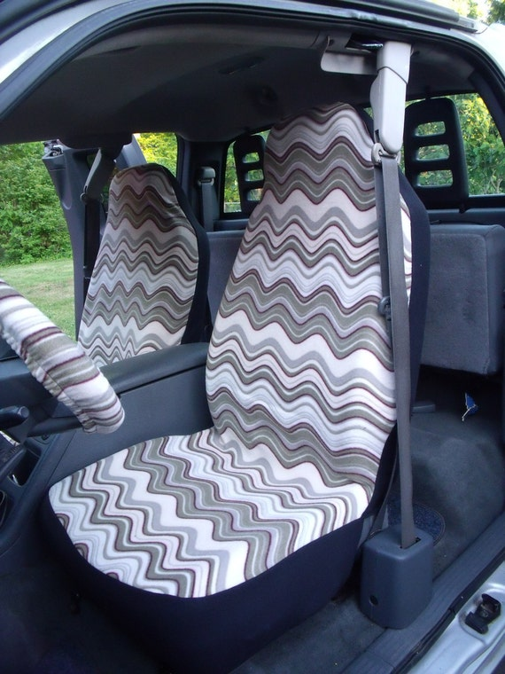 1 Set of Waves Print and Steering Wheel Cover Custom Made.