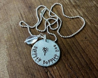 Metal Stamped Silver Necklace Cinderella Fairy Godmother Bippity Boppity Boo Christmas Birthday Mother's day Wedding Valentines Bridesmaid