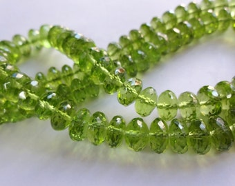 9-inch Gorgeous Natural AAA quality Peridot faceted rondelle beads size 5.5-7.5mm 100% natural