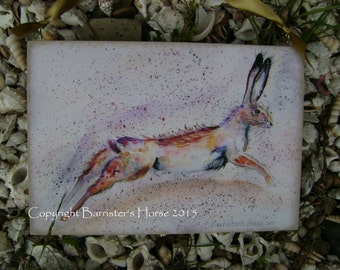 LEAPING HARE, Watercolour Print, painting, plaque. Ready to hang artwork 29 x 20cm