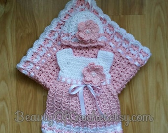 Baby girl dress blanket and hat pattern newborn girl crochet clothes.   Digital pattern.