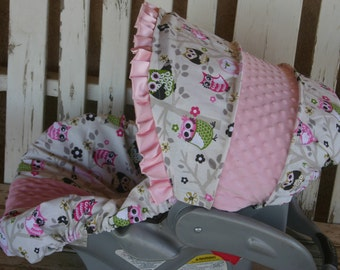 sit n a tree owls with baby pink minky infant car seat cover and hood cover with baby pink satin ruffle
