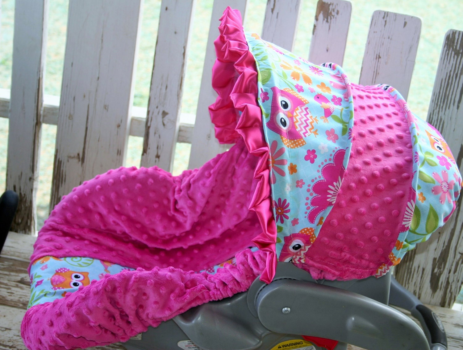 owls and pink minky infant car seat cover and hood cover with. Black Bedroom Furniture Sets. Home Design Ideas