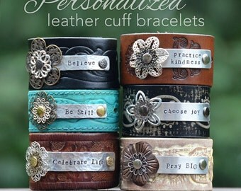 Personalized Leather Cuff bracelet, custom stamped metal bracelet, inspirational, essential oil diffuser jewelry, unique gift for her