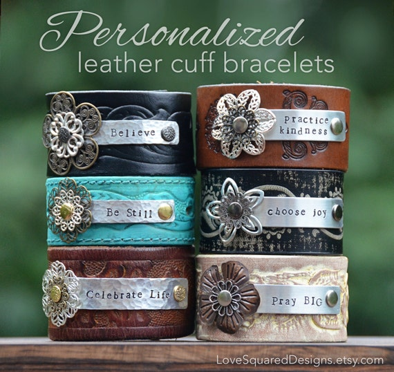 Design Your Own Custom Bangle Charm Bracelet Pick Your Charms: Personalized Leather Cuff Bracelet Custom By