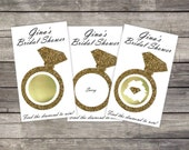 Bridal Shower Scratch Off Game Cards - Glitter Diamond Ring (10 cards)