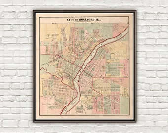 Old map of Rockford Illinois 1886