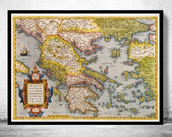 Old Map of Greece 1572 Vintage map