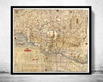 Vintage Map of Tokyo Japan 1820