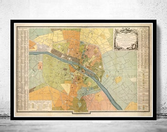 Old Map of Paris (VERY LARGE MAP) France 1904