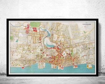 Old Map of Yonkers City New York  Plan 1893