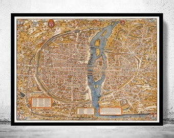 Old Map of Paris 1550 France Vintage Paris Plan