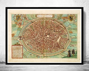 Old Map of Bruges, belgium, Brugae Flandorum 1572