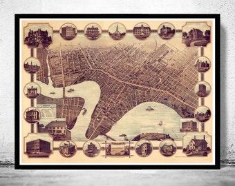 Winnipeg Vintage Map Etsy