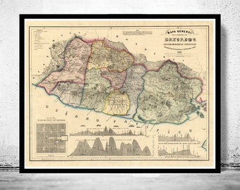 Old Map of El Salvador Honduras 1839