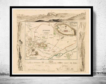 Old Map of Athens Acropolis, Greece 1853 Vintage map