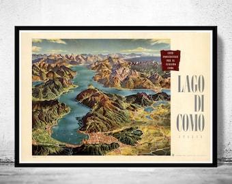 Vintage Poster of Lago Di Como Lake Como Italy Italia