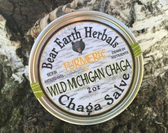 Chaga Salve - Turmeric - Wild Harvested Chaga Mushrooms - Anti Age Cream Ointment - Antioxidant - Northern Michigan