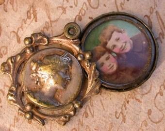 French medal antique silver portrait medal photo Miniature locket  art nouveau woman portrait ornate flower floral pendant