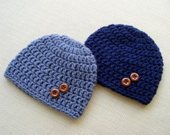 Blue Crochet Baby Twin boys hats Newborn twin hats Baby boy twins beanie Newborn twin boys photo prop hat Crochet newborn hat Boy twin gift