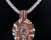 Crazy Lace Agate Cabochon Gemstone Bead Embroidered Pendant with matching Russian Spiral necklace beaded necklace one of a kind unique gift