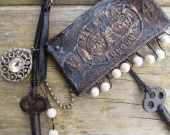 Assemblage Tribal, Rustic Key Necklace, Found Object Jewelry