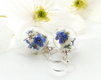 Forget Me Not Earrings, Forget Me Not Jewlery, Real Dried Flowers, Real Flower Jewelry, Gift for Her, Sterling Silver Dangle Earrings